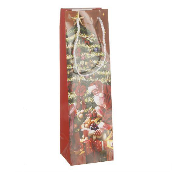 sac cadeau bouteille mon no l traditionnel rouge emballages cadeaux eminza. Black Bedroom Furniture Sets. Home Design Ideas
