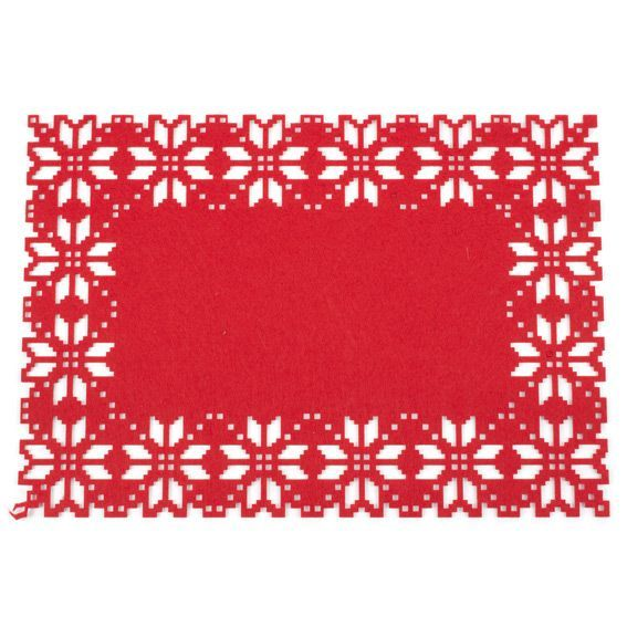 Set de table flocon rouge linge de table eminza - Deco de noel a imprimer ...