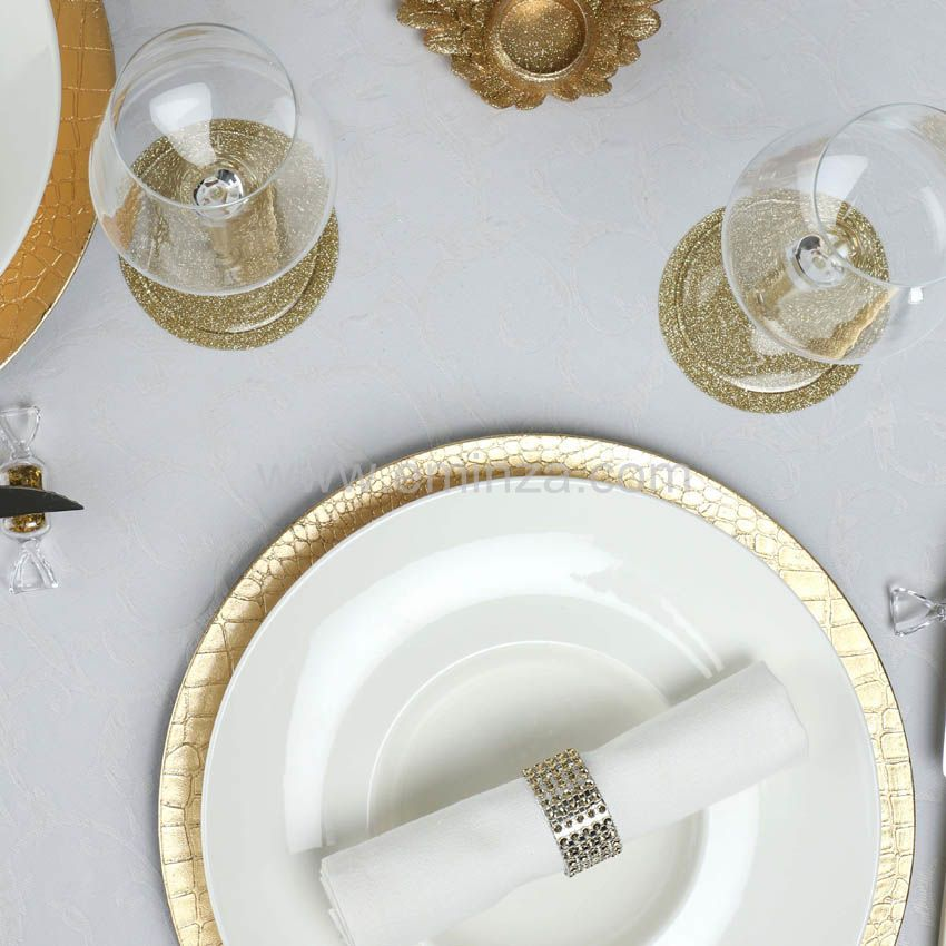 lot de 12 dessous d 39 assiette craquel e or d coration pour la table eminza. Black Bedroom Furniture Sets. Home Design Ideas