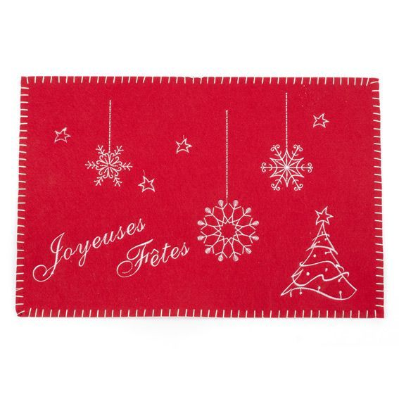 Set de table brod joyeuses f tes rouge linge de table for Set de table brode