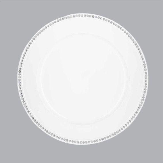 lot de 12 dessous d 39 assiette strass blanc d coration. Black Bedroom Furniture Sets. Home Design Ideas