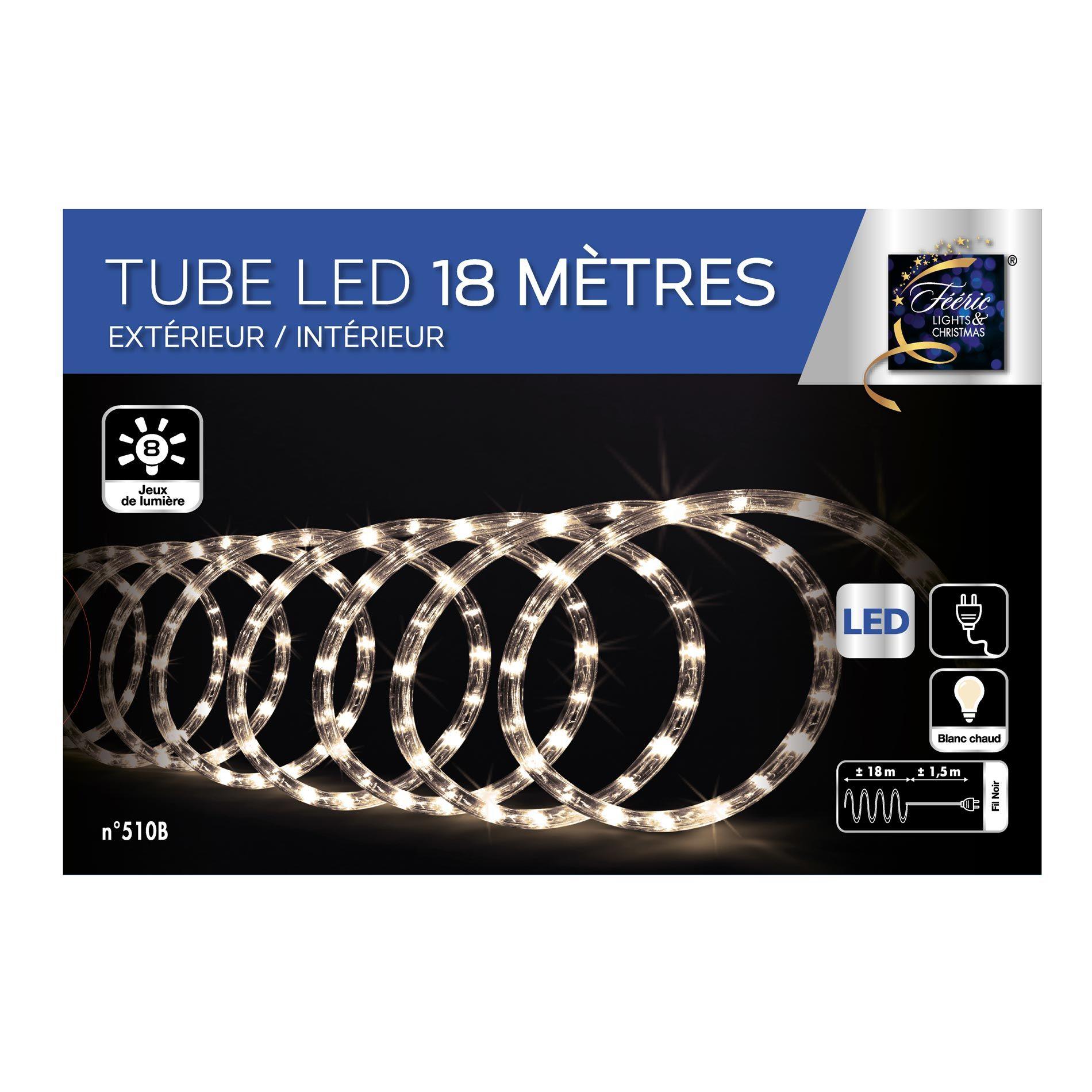 tube lumineux 18 m blanc chaud 324 led guirlande lumineuse eminza. Black Bedroom Furniture Sets. Home Design Ideas