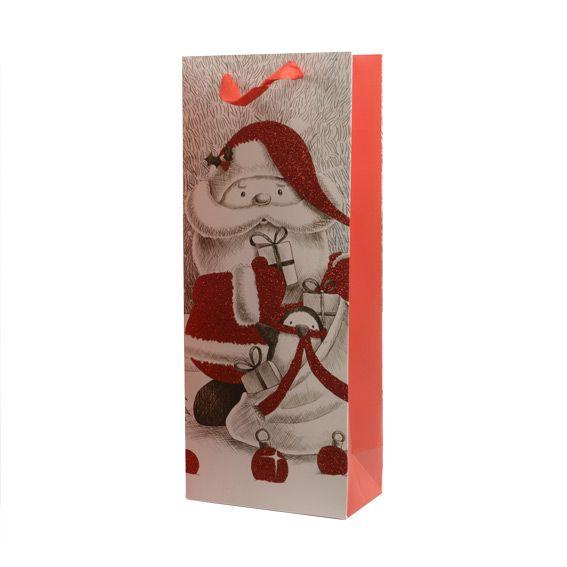 sac cadeau bouteille papa no l rouge emballages cadeaux eminza. Black Bedroom Furniture Sets. Home Design Ideas