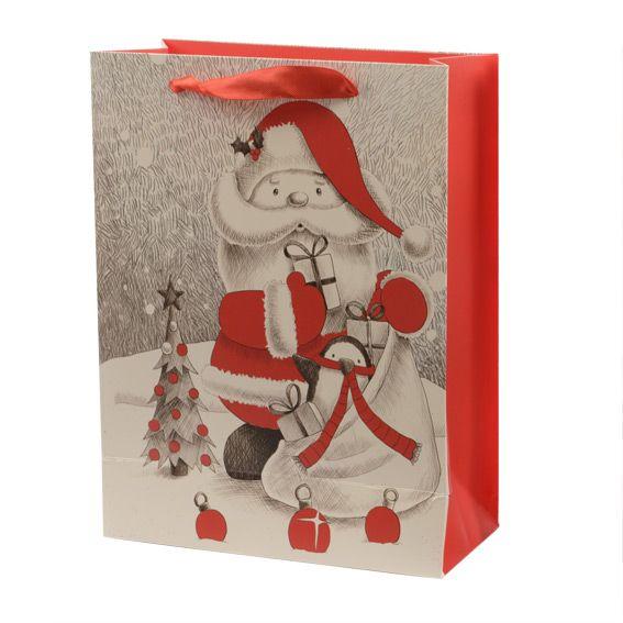 sac cadeau h32 cm papa no l rouge emballages cadeaux. Black Bedroom Furniture Sets. Home Design Ideas
