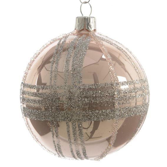 lot de 6 boules de no l d70 mm jazzy rose poudr boule de no l eminza. Black Bedroom Furniture Sets. Home Design Ideas