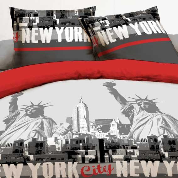 Housse de couette et une taie 140 cm new york rouge - Housse de couette pour lit 140 ...