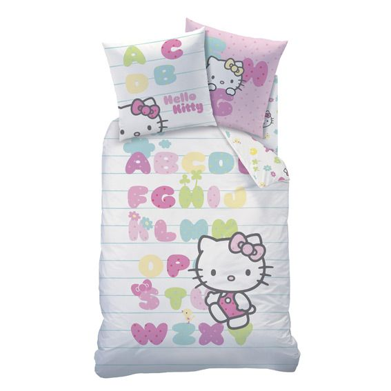 housse de couette et une taie 140 cm hello kitty abecedaire housse de couette eminza. Black Bedroom Furniture Sets. Home Design Ideas
