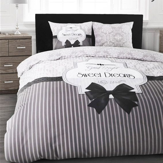 housse de couette et deux taies 240 cm sweet dreams gris. Black Bedroom Furniture Sets. Home Design Ideas