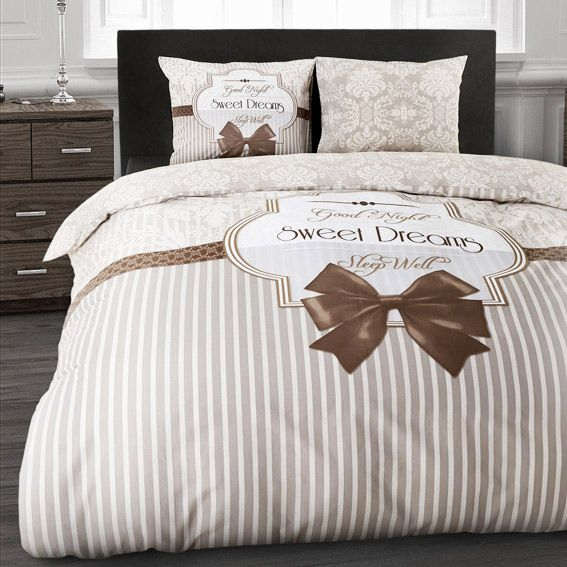 housse de couette et une taie 140 cm sweet dreams taupe housse de couette eminza. Black Bedroom Furniture Sets. Home Design Ideas