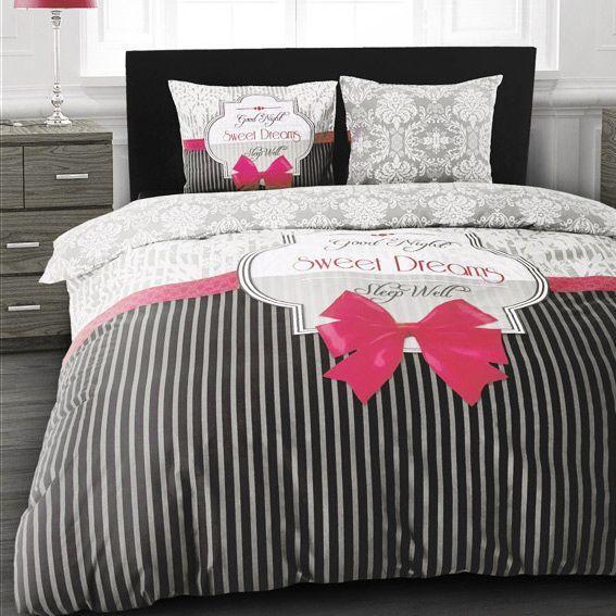 Housse de couette et deux taies 200 cm sweet dreams rose - Housse de couette rose et grise ...