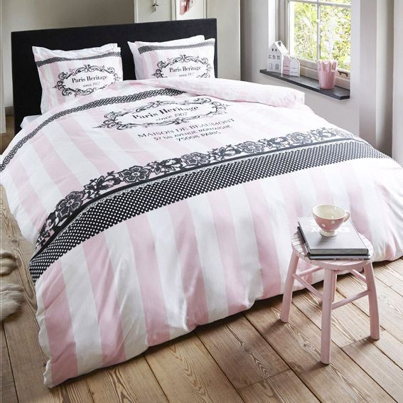 housse de couette et une taie 140 cm secret heritage rose housse de couette eminza. Black Bedroom Furniture Sets. Home Design Ideas