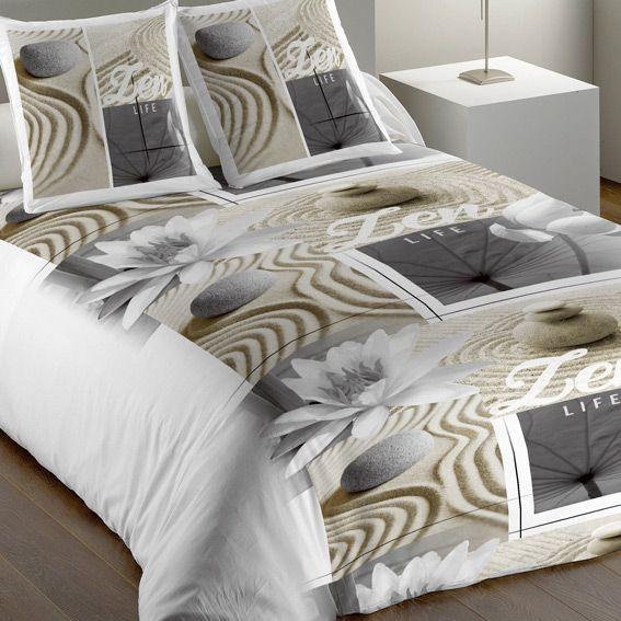 housse de couette et deux taies 240 cm zen lotus housse de couette eminza. Black Bedroom Furniture Sets. Home Design Ideas