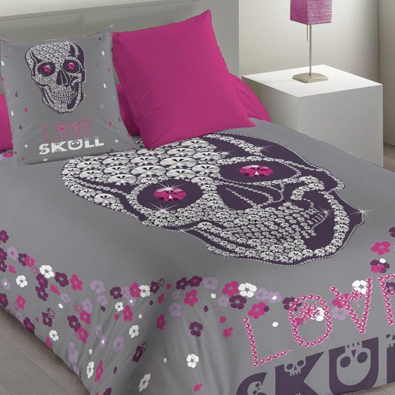 housse de couette et une taie 140 cm skully housse de. Black Bedroom Furniture Sets. Home Design Ideas