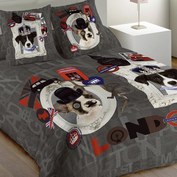 housse de couette et une taie 140 cm london dogs housse de couette eminza. Black Bedroom Furniture Sets. Home Design Ideas