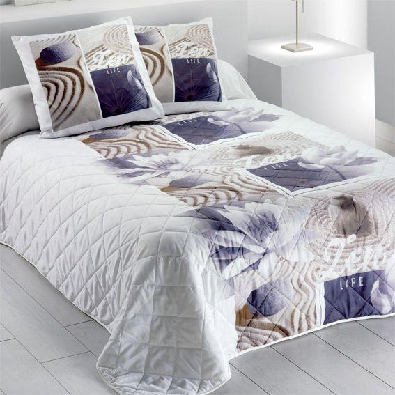 couvre lit 220 x 240 cm zen lotus couvre lit boutis eminza. Black Bedroom Furniture Sets. Home Design Ideas
