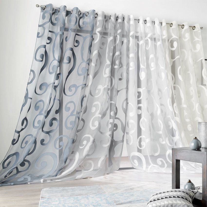 voilage 140 x h265 cm arabesque bleu voilage eminza. Black Bedroom Furniture Sets. Home Design Ideas