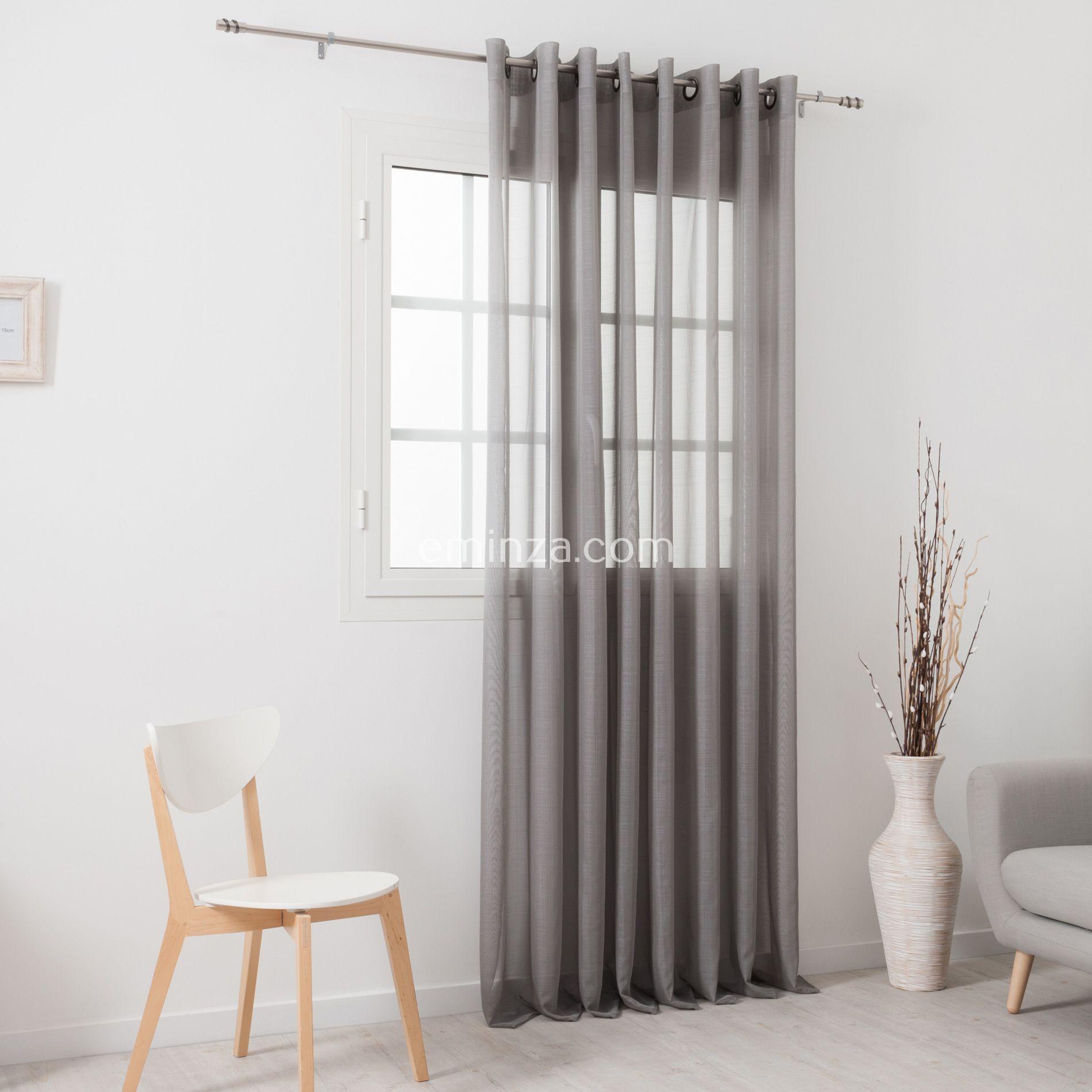 voilage 300 x h240 cm givr e gris perle voilage eminza. Black Bedroom Furniture Sets. Home Design Ideas