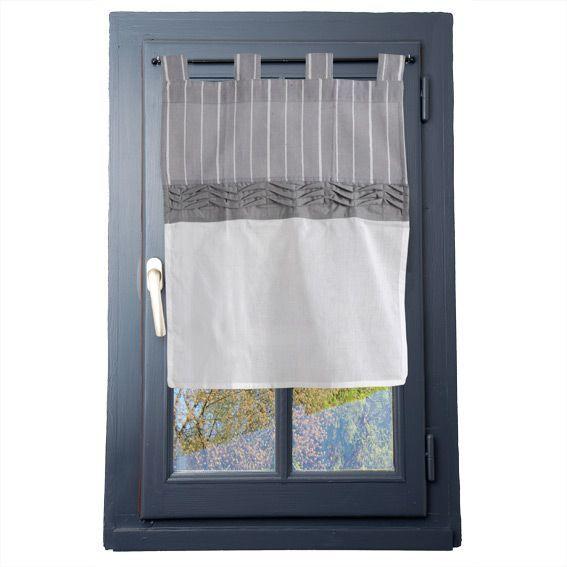 voilage vitrage 45 x h60 cm clerina gris rideau et voilage eminza. Black Bedroom Furniture Sets. Home Design Ideas