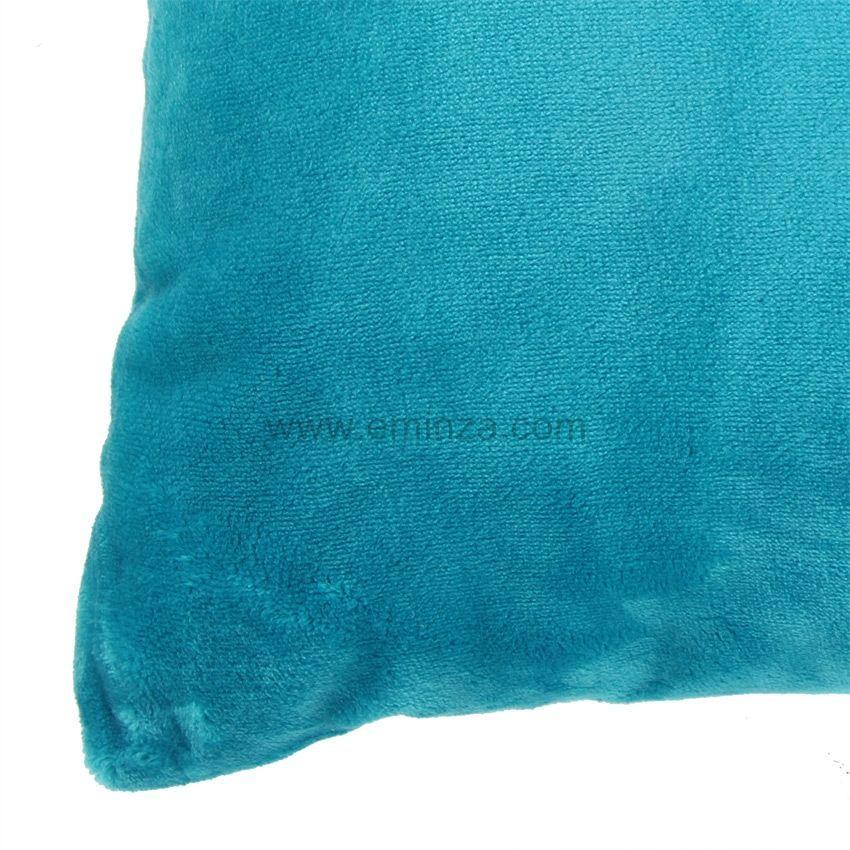 Housse de coussin 60 cm doudou turquoise housse de for Housse de coussin 60 x 60