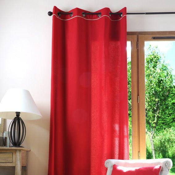 rideau 135 x h250 cm duo rouge rideau tamisant eminza. Black Bedroom Furniture Sets. Home Design Ideas