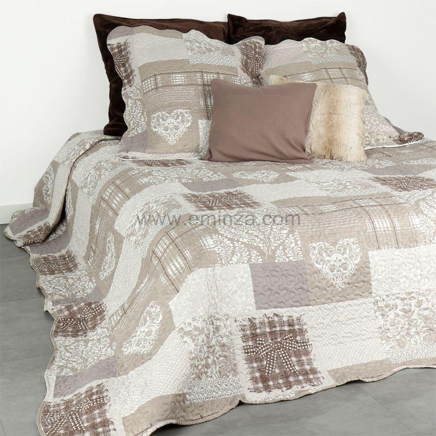 boutis et taies d 39 oreiller 220 x 240 cm montana lin couvre lit boutis eminza. Black Bedroom Furniture Sets. Home Design Ideas
