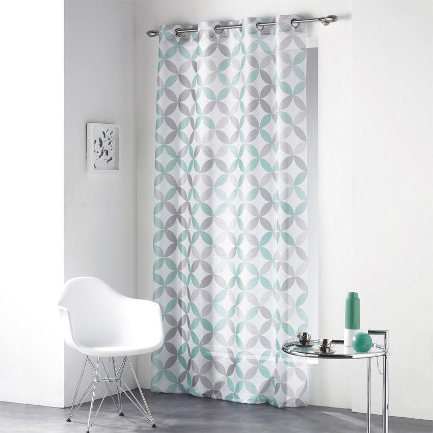 voilage 140 x h240 cm kalehi bleu voilage eminza. Black Bedroom Furniture Sets. Home Design Ideas