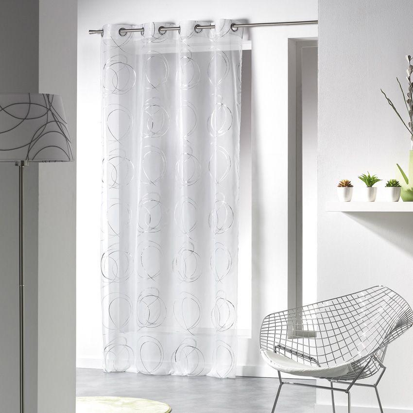 voilage 140 x h240 cm bully blanc voilage eminza. Black Bedroom Furniture Sets. Home Design Ideas