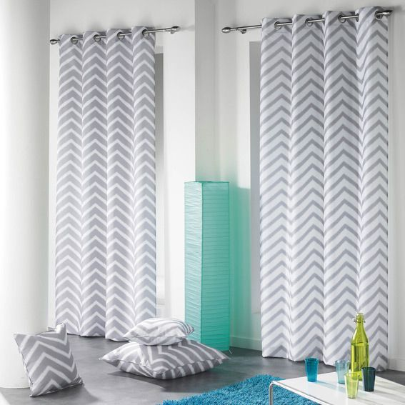 rideau 140 x h260 cm zigzag blanc rideau tamisant eminza. Black Bedroom Furniture Sets. Home Design Ideas