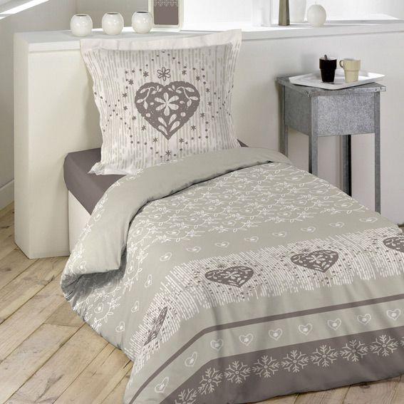 housse de couette et une taie 140 cm courchevel taupe housse de couette eminza. Black Bedroom Furniture Sets. Home Design Ideas