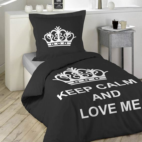 housse de couette et une taie 140 cm keep calm housse de couette eminza. Black Bedroom Furniture Sets. Home Design Ideas