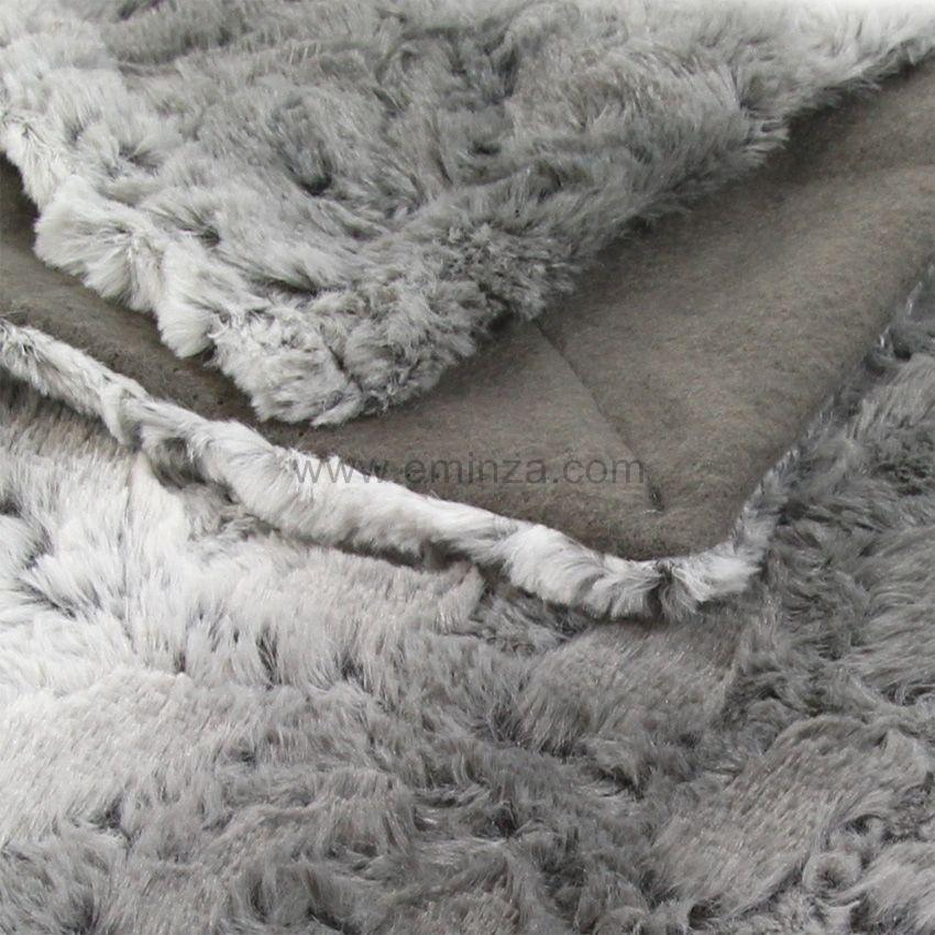 plaid imitation fourrure sib rie gris plaid fausse fourrure eminza. Black Bedroom Furniture Sets. Home Design Ideas