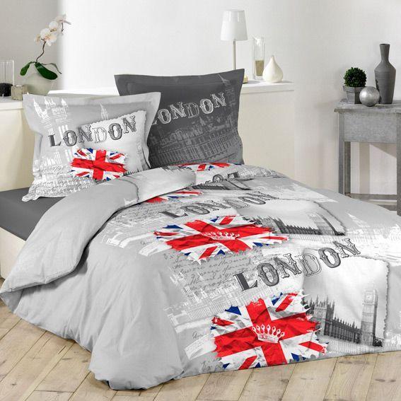 housse de couette et deux taies 200 cm grand londres housse de couette eminza. Black Bedroom Furniture Sets. Home Design Ideas