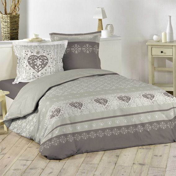 housse de couette et deux taies 240 cm courchevel taupe housse de couette eminza. Black Bedroom Furniture Sets. Home Design Ideas
