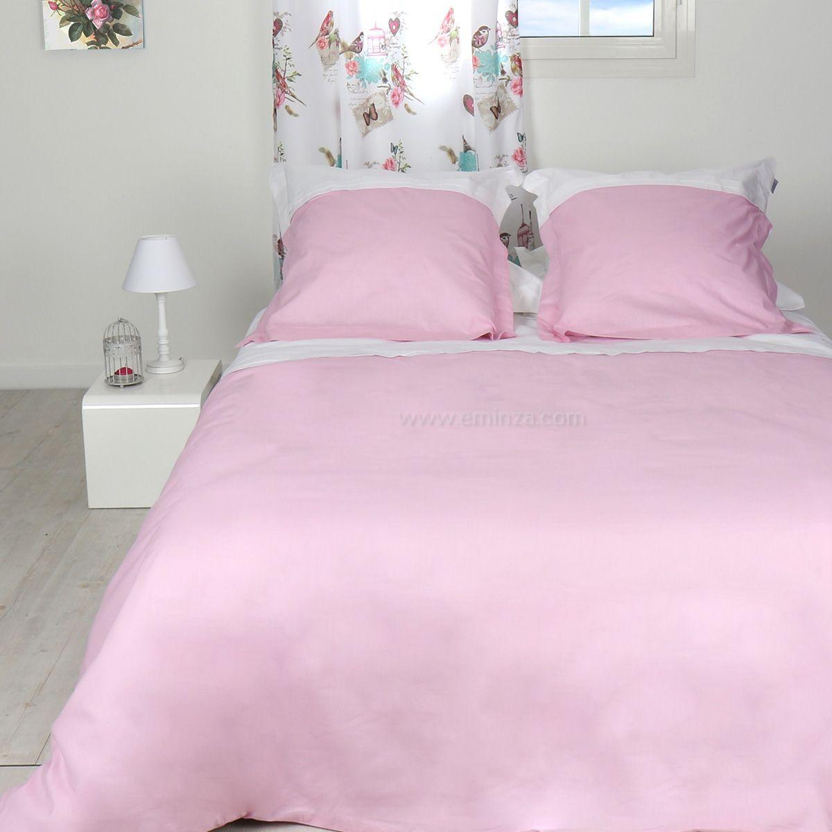 housse de couette et deux taies 240 cm duoline rose housse de couette eminza. Black Bedroom Furniture Sets. Home Design Ideas