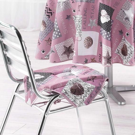 galette de chaise carr e starly rose galette et coussin de chaise eminza. Black Bedroom Furniture Sets. Home Design Ideas