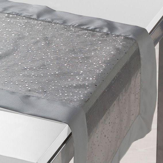 Chemin de table l140 cm festille gris linge de table - Chemin de table gris ...