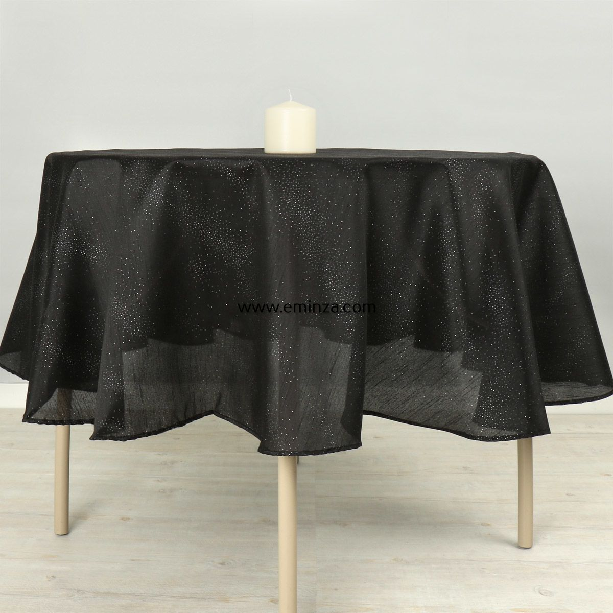 nappe ronde d180 cm shantung noir linge de table eminza. Black Bedroom Furniture Sets. Home Design Ideas