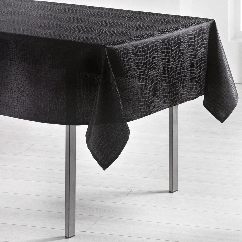 nappe rectangulaire l250 cm serpentile noir nappe de table eminza. Black Bedroom Furniture Sets. Home Design Ideas