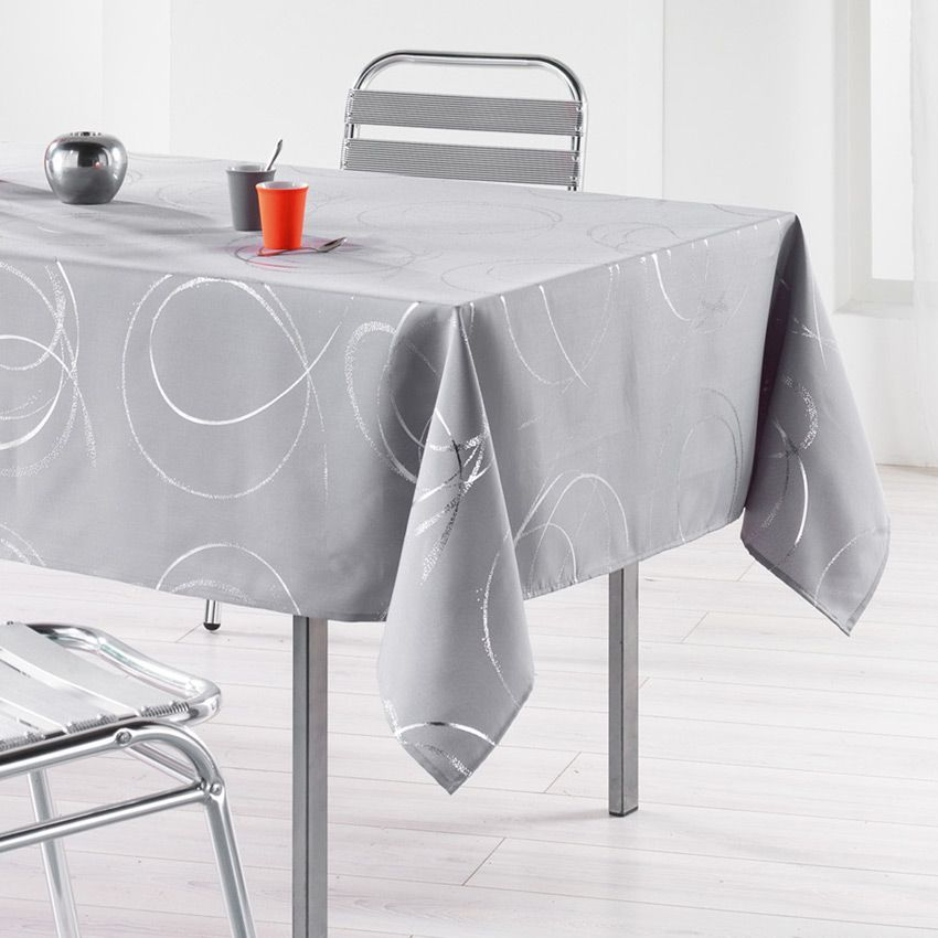 Nappe rectangulaire l240 cm bully perle nappe de table eminza - Linge de table luxe ...