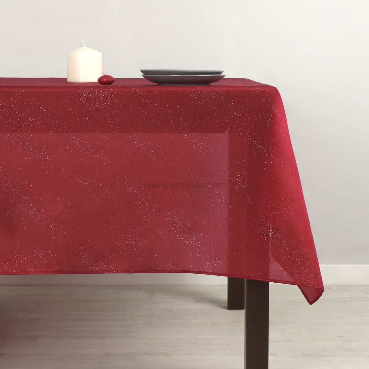 nappe rectangulaire l300 cm shantung rouge linge de table eminza. Black Bedroom Furniture Sets. Home Design Ideas