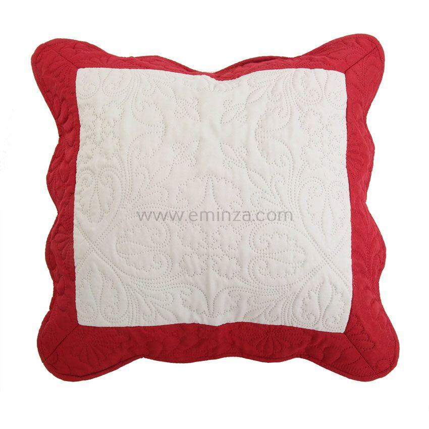 housse de coussin boutis 45 cm emma naturel et rouge coussin et housse de coussin eminza. Black Bedroom Furniture Sets. Home Design Ideas