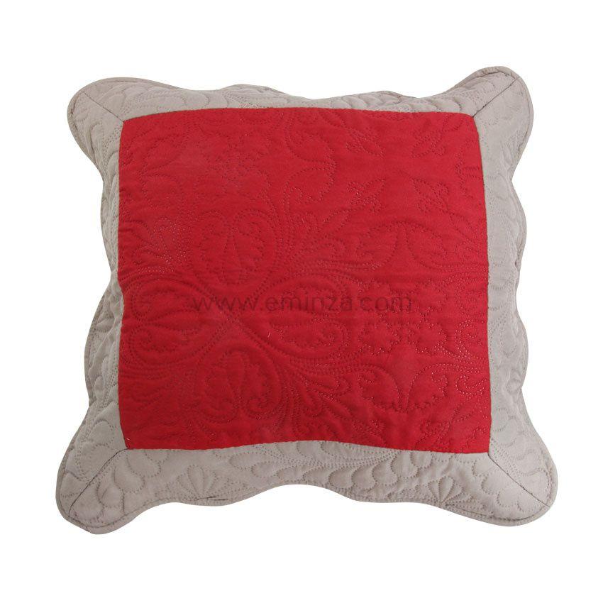Housse de coussin boutis 45 cm emma rouge coussin et for Housse coussin rouge