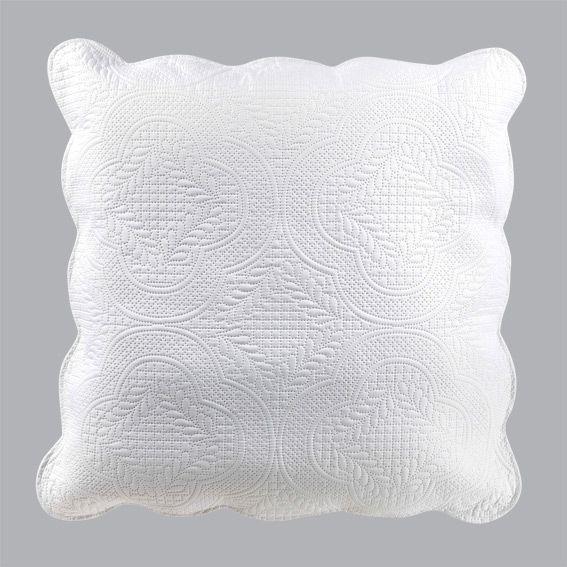Housse de coussin boutis 45 cm melissa blanc coussin - Housse de coussin blanc ...