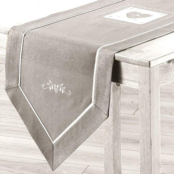 Chemin de table l150 cm amandine brod gris chemin de - Chemin de table tissu ...