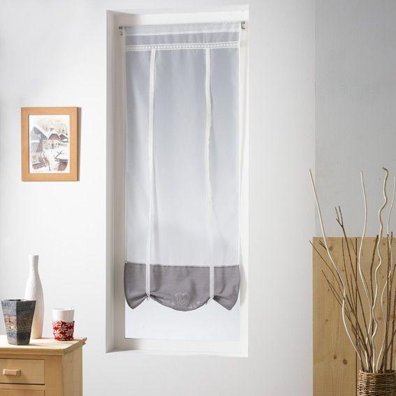 store voilage droit 60 cm amandine gris store voilage eminza. Black Bedroom Furniture Sets. Home Design Ideas