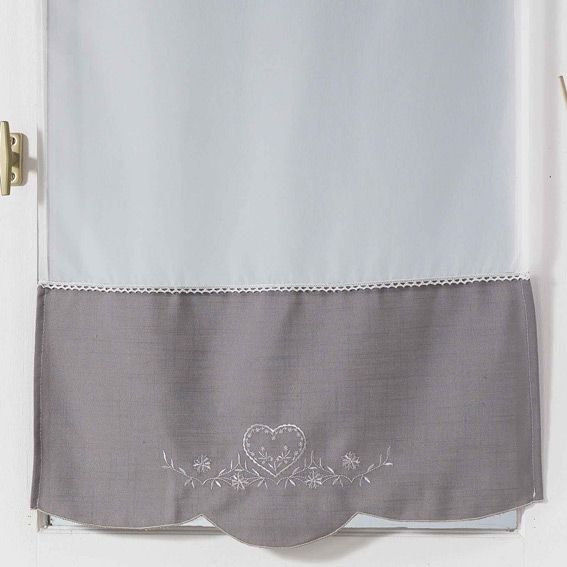 paire de voilages 60 x h120 cm amandine gris rideau et voilage eminza. Black Bedroom Furniture Sets. Home Design Ideas