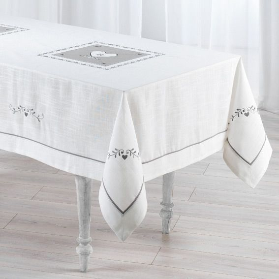 nappe rectangulaire l240 cm amandine brod blanc nappe de table eminza. Black Bedroom Furniture Sets. Home Design Ideas