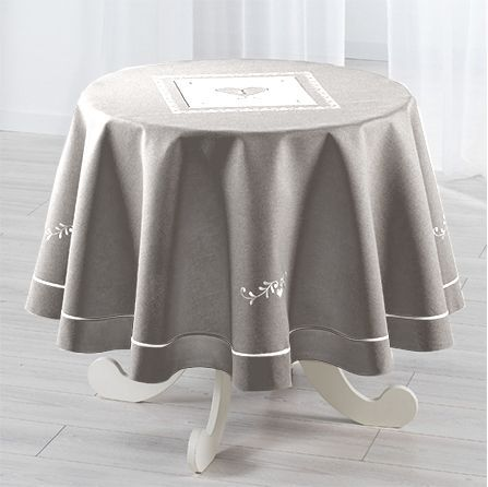 nappe ronde d180 cm amandine brod gris nappe de table eminza. Black Bedroom Furniture Sets. Home Design Ideas