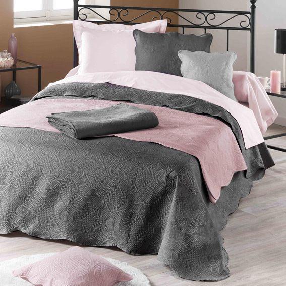 couvre lit 220 x 240 cm matelass melissa anthracite couvre lit boutis eminza. Black Bedroom Furniture Sets. Home Design Ideas