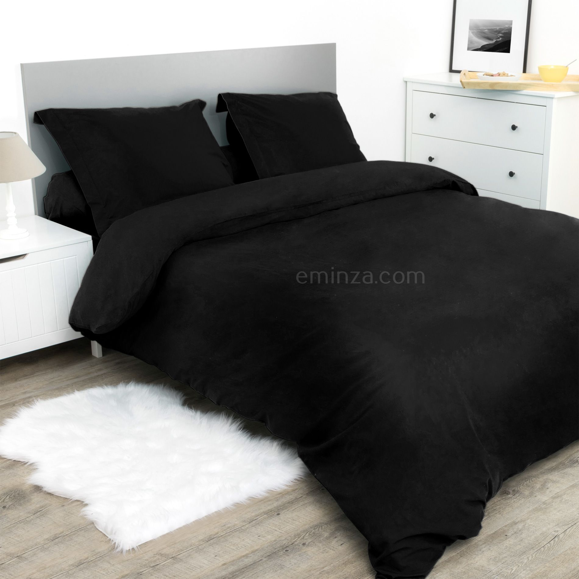 housse de couette 260 cm confort noir housse de couette eminza. Black Bedroom Furniture Sets. Home Design Ideas